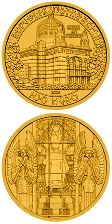 Image of 100 euro coin – Steinhof Church | Austria 2005.  The Gold coin is of Proof quality.
