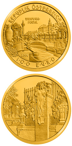 Image of a coin 100 euro | Austria | River Wien Gate | 2006
