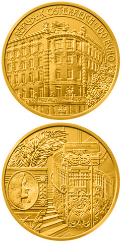 Image of 100 euro coin – Linke Wienzeile Nr. 38 | Austria 2007.  The Gold coin is of Proof quality.