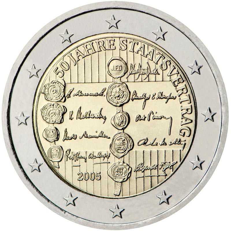 Image of 2 euro coin – 50th Anniversary of the Austrian State Treaty | Austria 2005