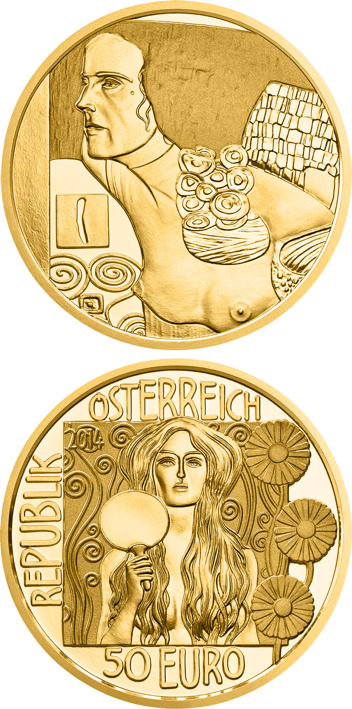 Image of 50 euro coin - Judith II | Austria 2014.  The Gold coin is of Proof quality.