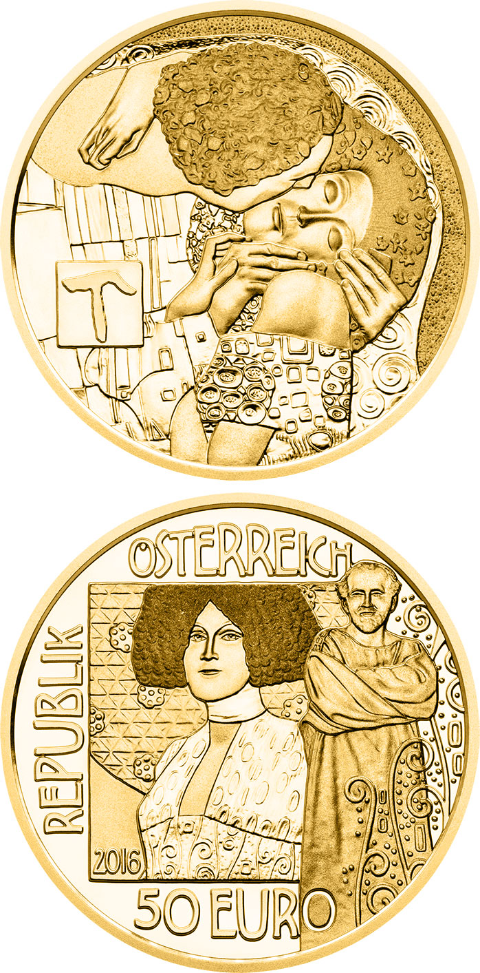 Image of The Kiss – 50 euro coin Austria 2016.  The Gold coin is of Proof quality.