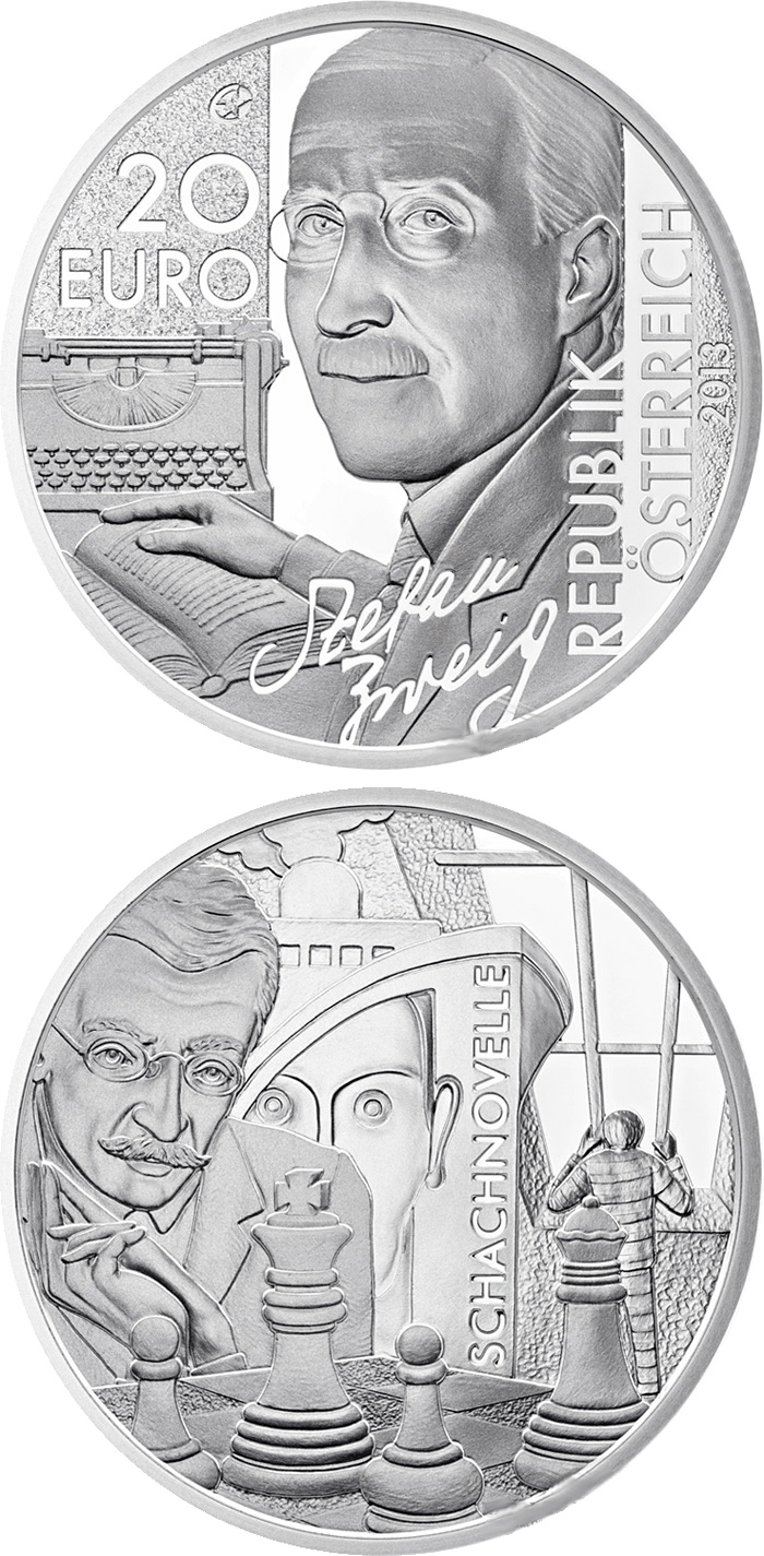 Image of 20 euro coin – Stefan Zweig | Austria 2013.  The Silver coin is of Proof quality.