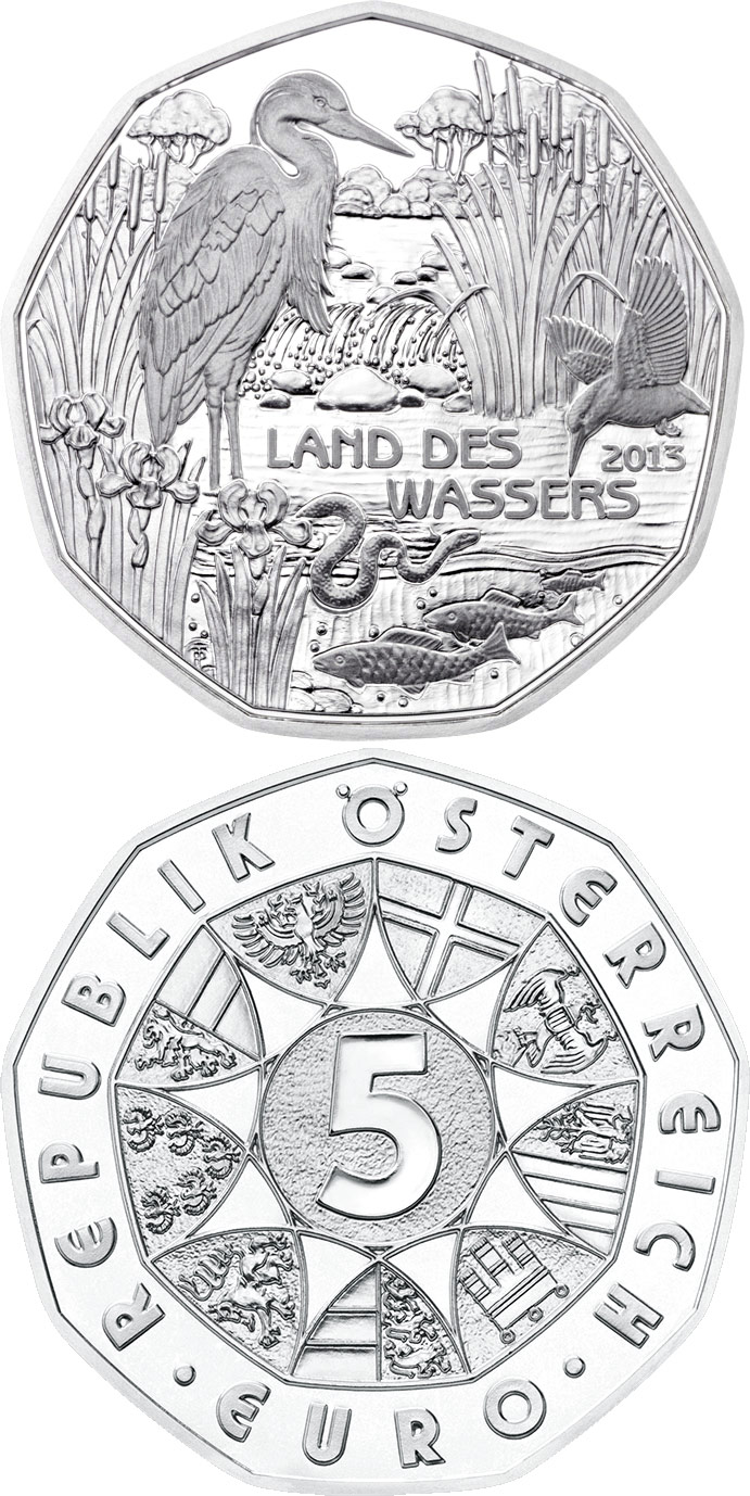 Image of a coin 5 euro | Austria | Land of Water | 2013