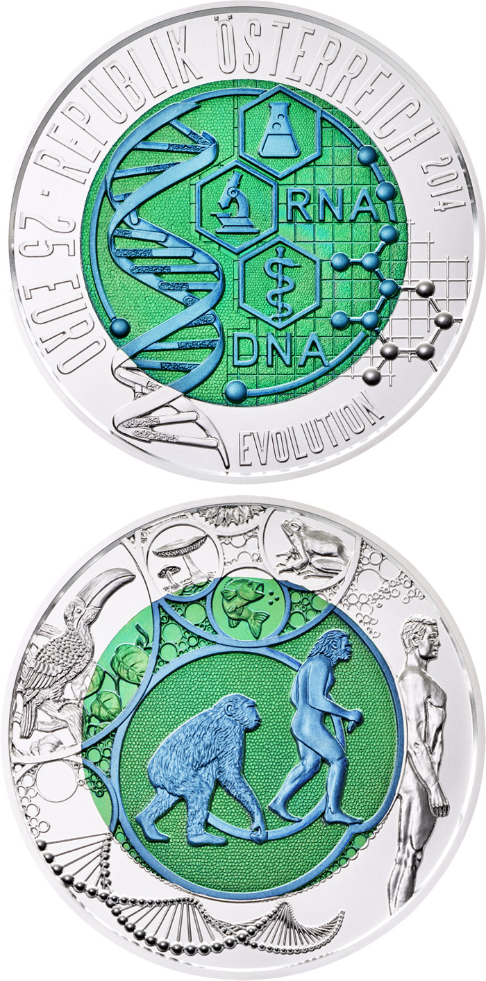 Image of 25 euro coin - Evolution | Austria 2014.  The Bimetal: silver, niobium coin is of BU quality.