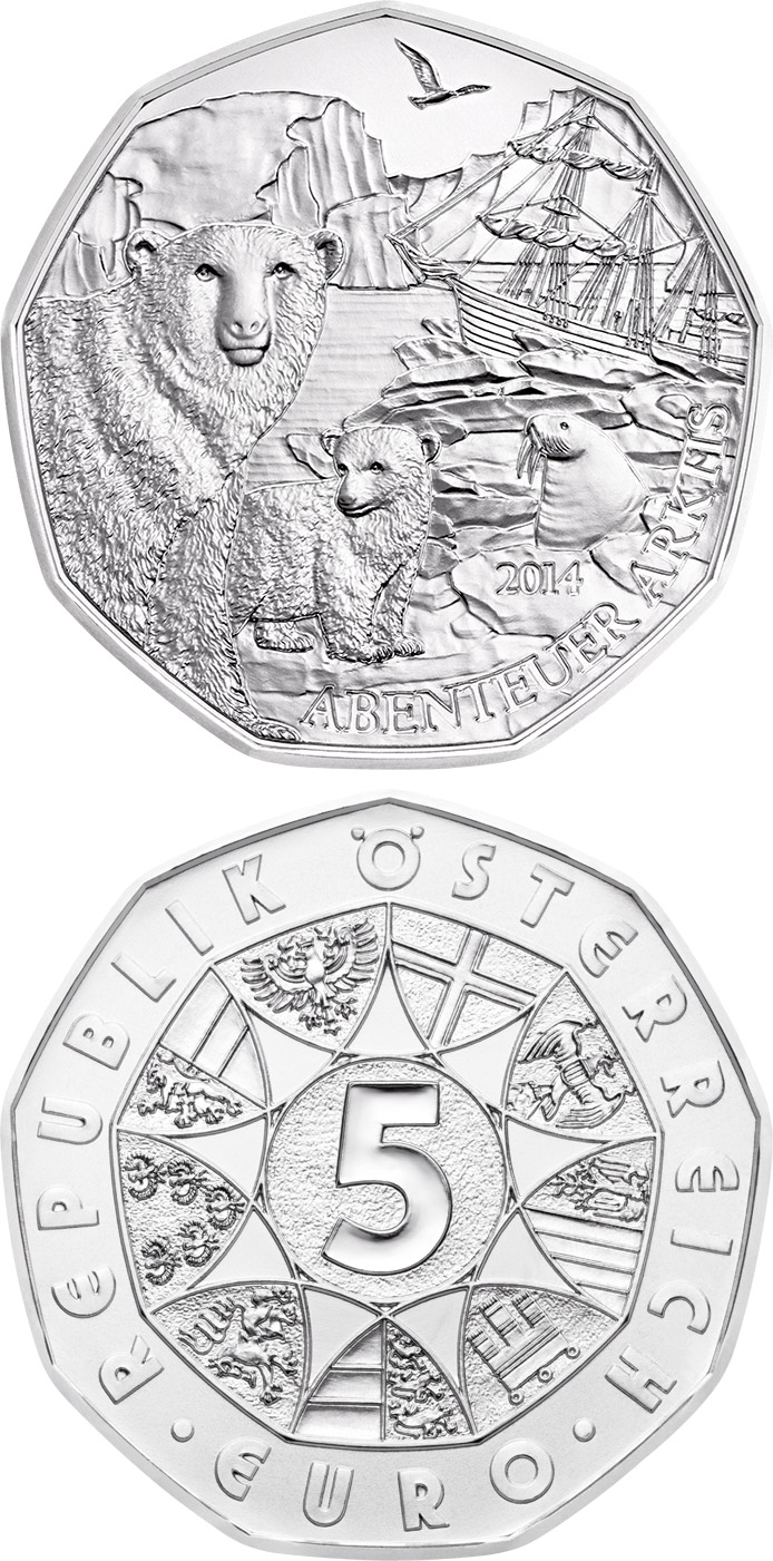 Image of 5 euro coin - Arctic Adventure | Austria 2014.  The Silver coin is of BU, UNC quality.