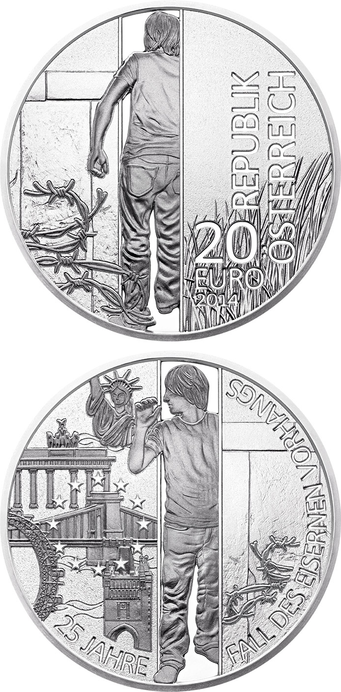 Image of a coin 20 euro | Austria | 25th Anniversary of the Fall of the Iron Curtain | 2014