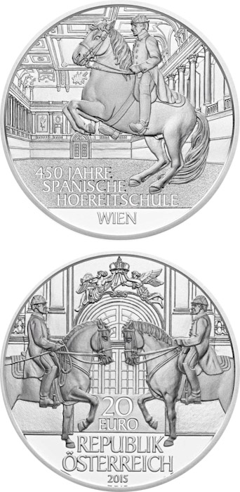 Image of 20 euro coin - 450th Anniversary of the Spanish Riding School | Austria 2015.  The Silver coin is of Proof quality.