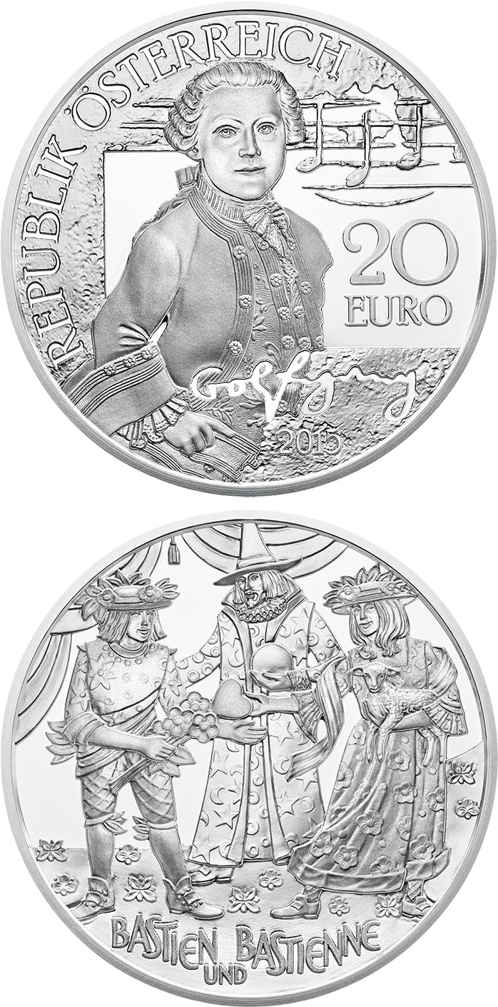Image of 20 euro coin - Mozart - The Wunderkind | Austria 2015.  The Silver coin is of Proof quality.