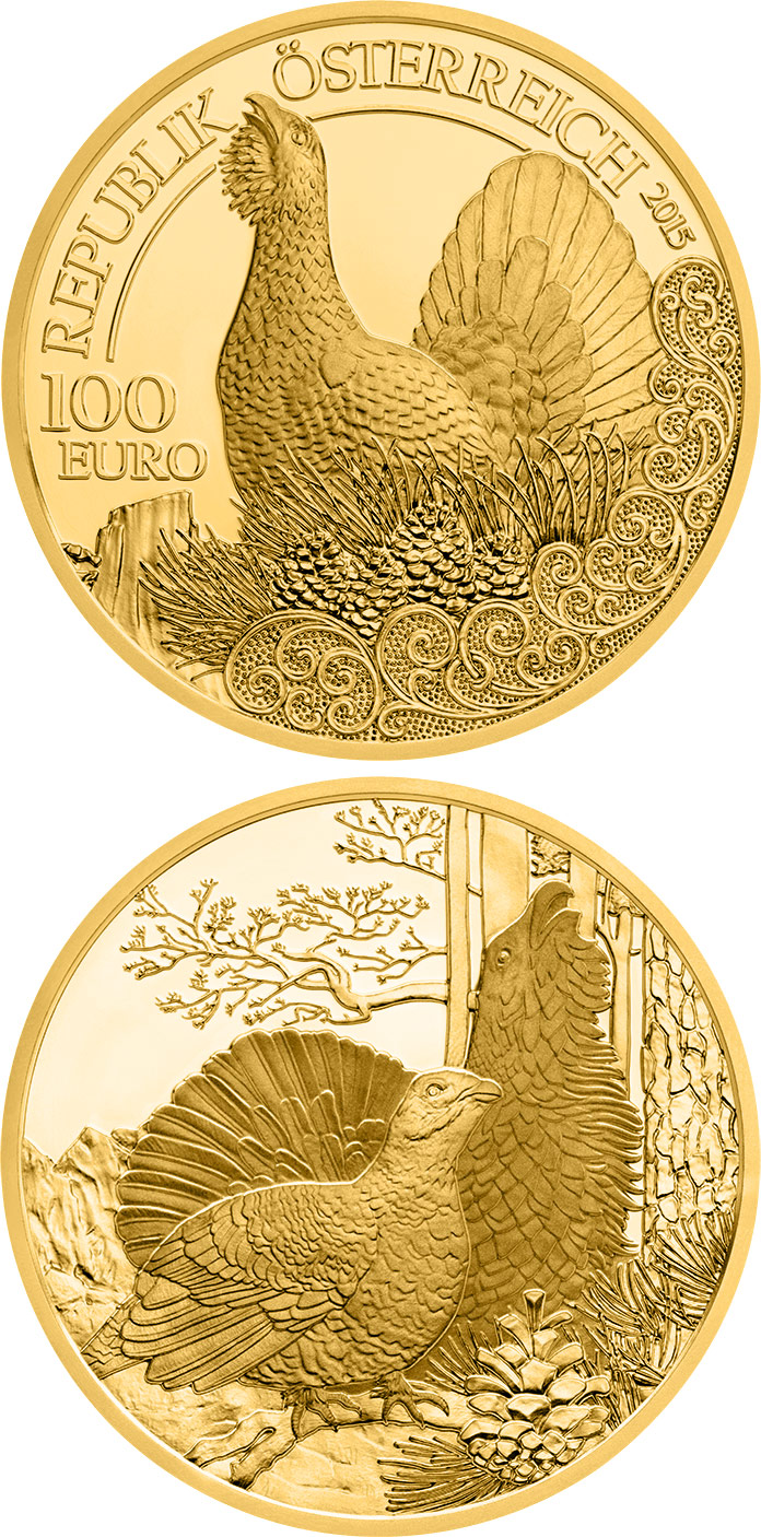 Image of 100 euro coin - The Capercaillie | Austria 2015.  The Gold coin is of Proof quality.