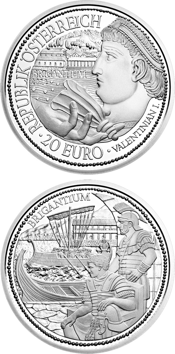 Image of 20 euro coin - Brigantium | Austria 2012.  The Silver coin is of Proof quality.