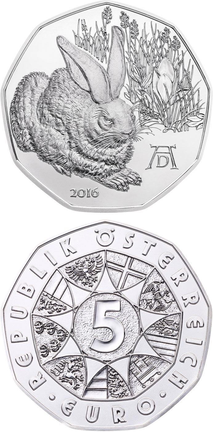 Image of 5 euro coin - Dürer`s Young Hare | Austria 2016.  The Silver coin is of BU, UNC quality.