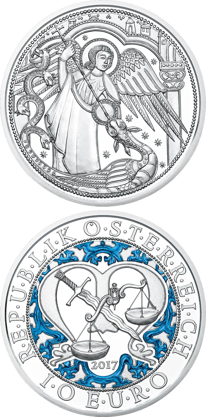 Image of 10 euro coin - Michael – The Protecting Angel | Austria 2017.  The Silver coin is of Proof, BU, UNC quality.