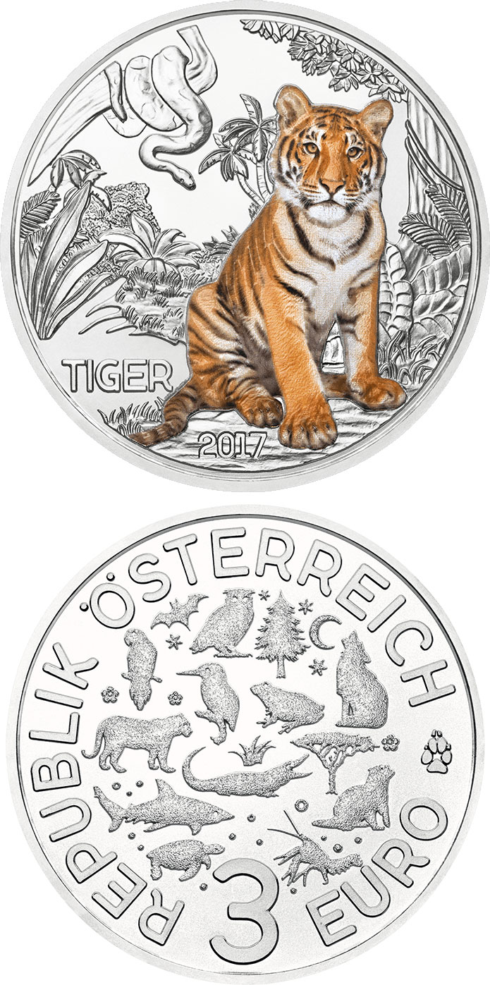 Image of 3 euro coin - The Tiger | Austria 2017.  The Copper coin is of UNC quality.