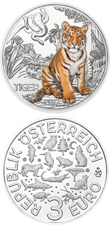 3 euro The Tiger - 2017 - Series: Colourful Creatures - Austria