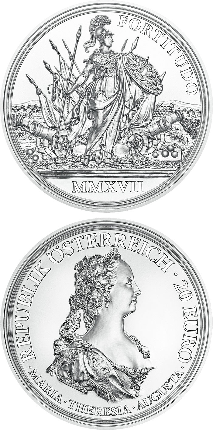 Image of 20 euro coin - Courage and Determination | Austria 2017.  The Silver coin is of Proof quality.
