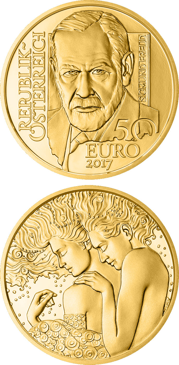 Image of 50 euro coin - Sigmund Freud | Austria 2017.  The Gold coin is of Proof quality.