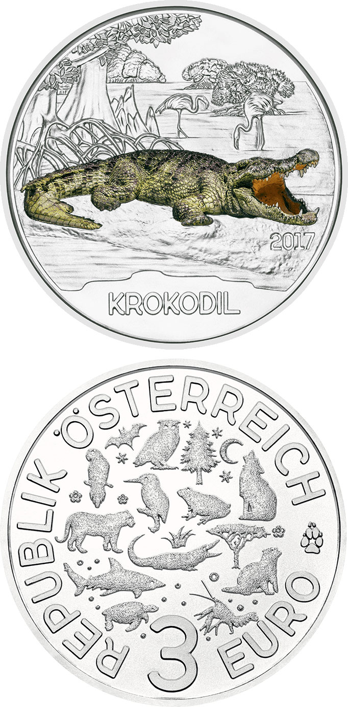 Image of 3 euro coin - The Crocodile | Austria 2017.  The Copper coin is of UNC quality.