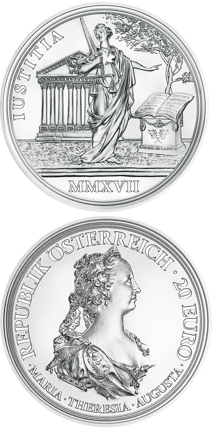 Image of 20 euro coin – Justice and Character | Austria 2017.  The Silver coin is of Proof quality.