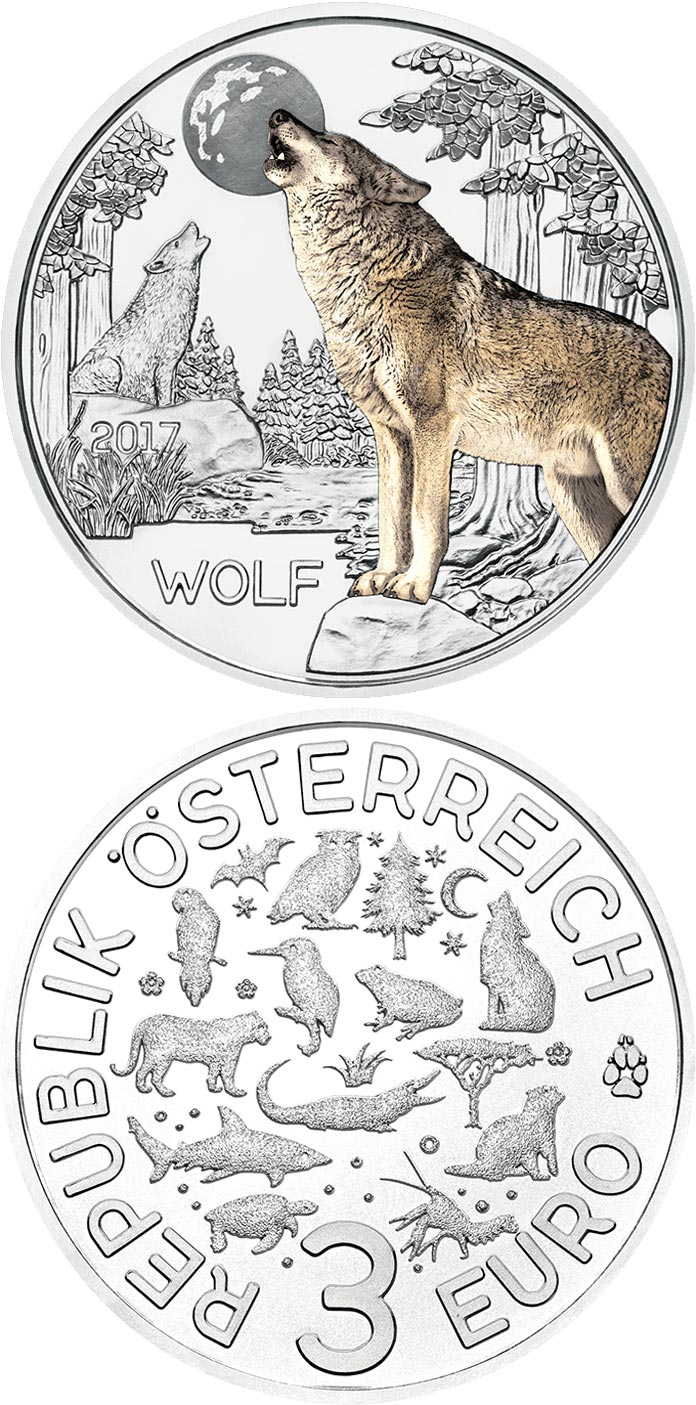 Image of 3 euro coin – The Wolf | Austria 2017.  The Copper coin is of UNC quality.