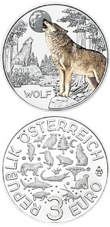 3 euro The Wolf - 2017 - Series: Colourful Creatures - Austria