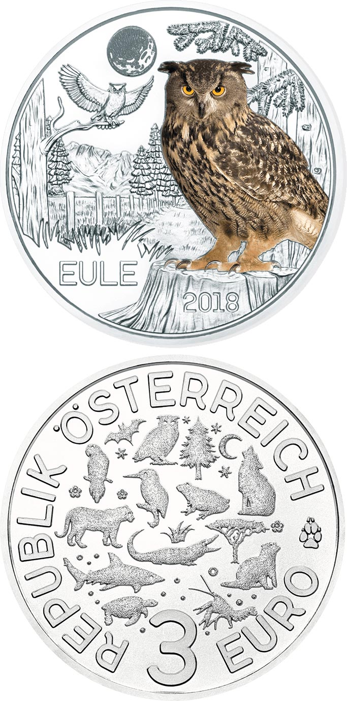 Image of 3 euro coin - The Owl | Austria 2018.  The Copper coin is of UNC quality.