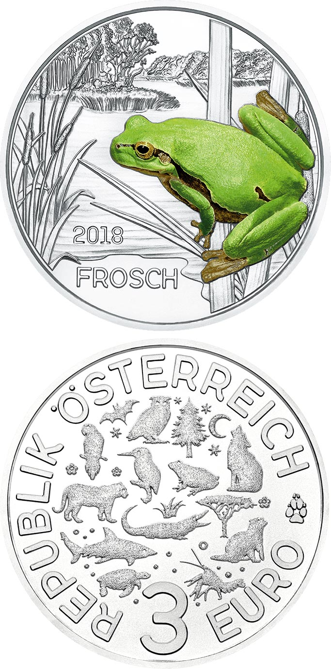Image of 3 euro coin – The Frog | Austria 2018.  The Copper coin is of UNC quality.
