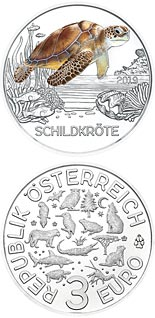 Image of 3 euro coin – The Turtle | Austria 2019.  The Copper coin is of UNC quality.
