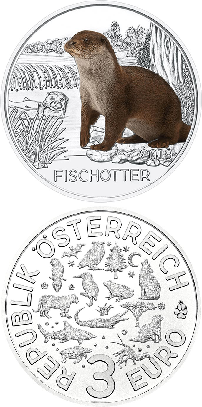 Image of 3 euro coin - The Otter | Austria 2019.  The Copper coin is of UNC quality.