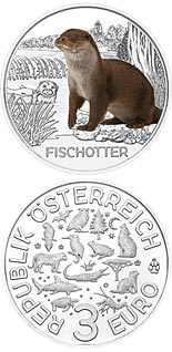 Image of 3 euro coin – The Otter | Austria 2019.  The Copper coin is of UNC quality.