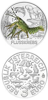 Image of 3 euro coin - The Crayfish | Austria 2019.  The Copper coin is of UNC quality.