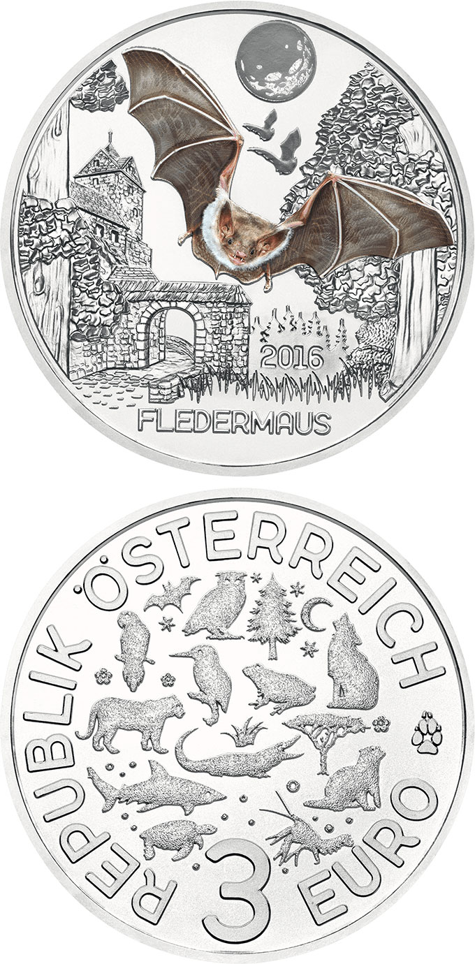 Image of 3 euro coin - The Bat | Austria 2016.  The Copper coin is of UNC quality.