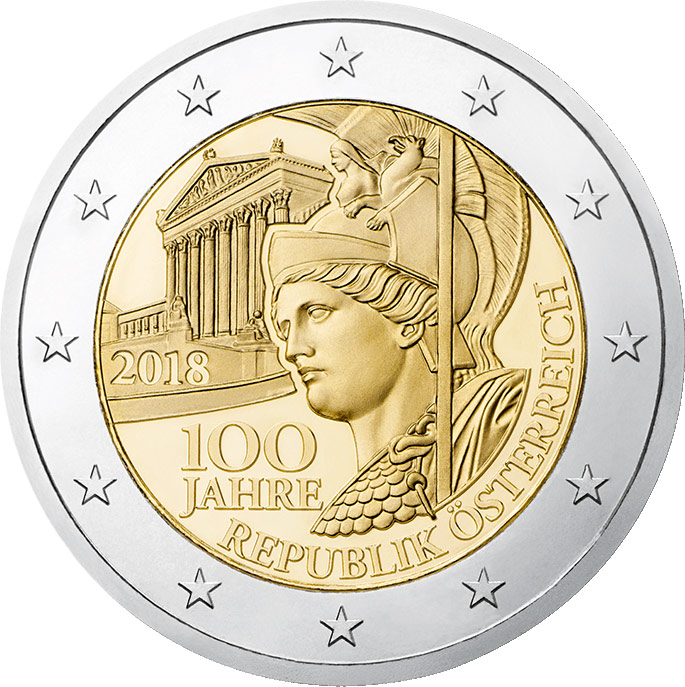Image of 2 euro coin - The Centenary of the Founding of the Republic of Austria | Austria 2018