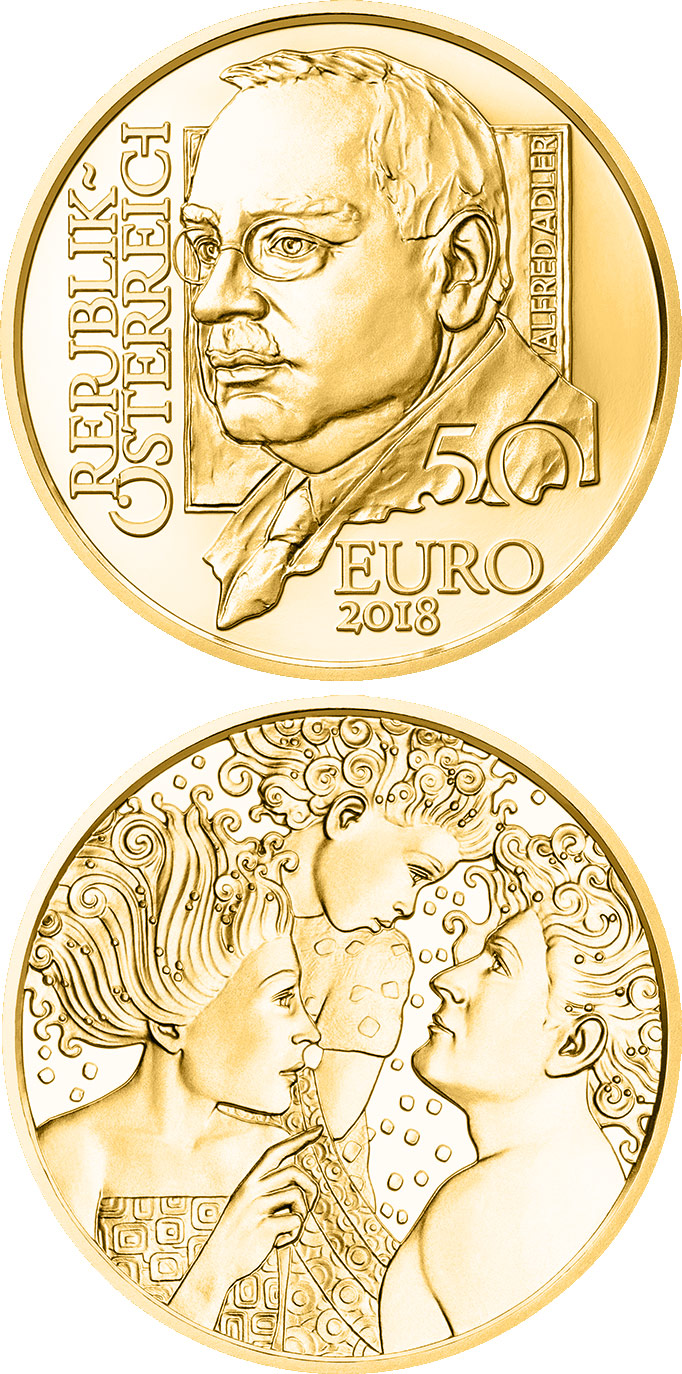 Image of 50 euro coin - Alfred Adler | Austria 2018.  The Gold coin is of Proof quality.
