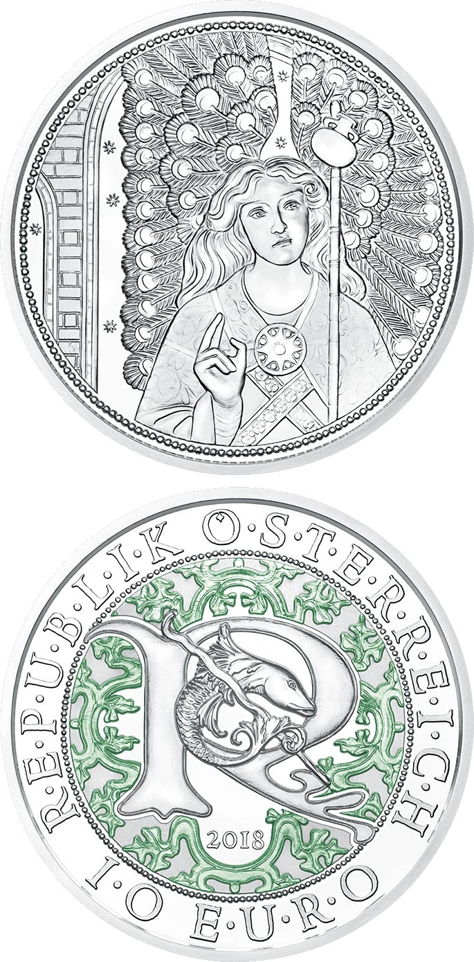 Image of 10 euro coin – Raphael - The Healing Angel | Austria 2018.  The Silver coin is of Proof, BU, UNC quality.