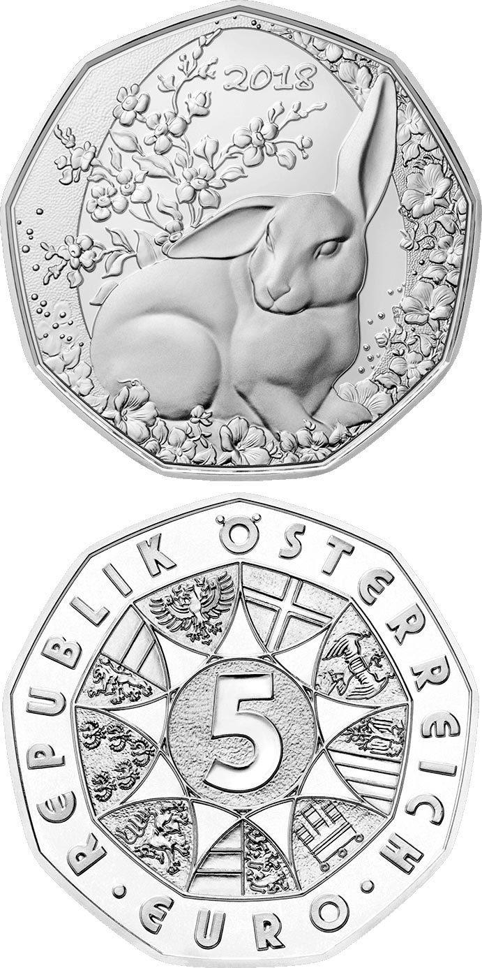 Image of 5 euro coin - The Easter Bunny | Austria 2018.  The Silver coin is of BU, UNC quality.