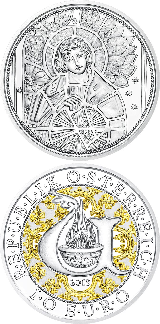 Image of 10 euro coin – Uriel - The Illuminating Angel | Austria 2018.  The Silver coin is of Proof, BU, UNC quality.