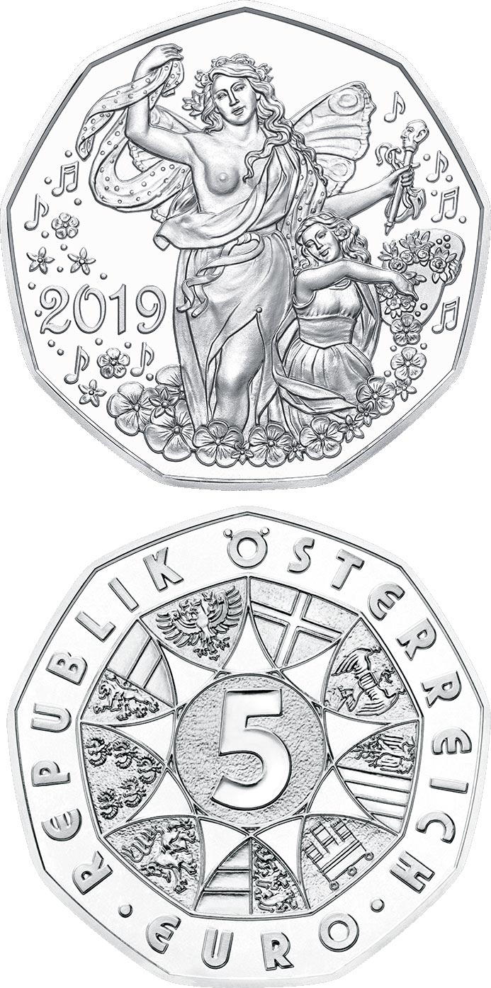 Image of 5 euro coin – New Year coin 2019 | Austria 2018.  The Silver coin is of BU, UNC quality.