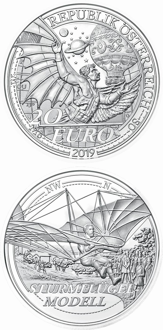 Image of 20 euro coin – The Dream of Flight | Austria 2019.  The Silver coin is of Proof quality.