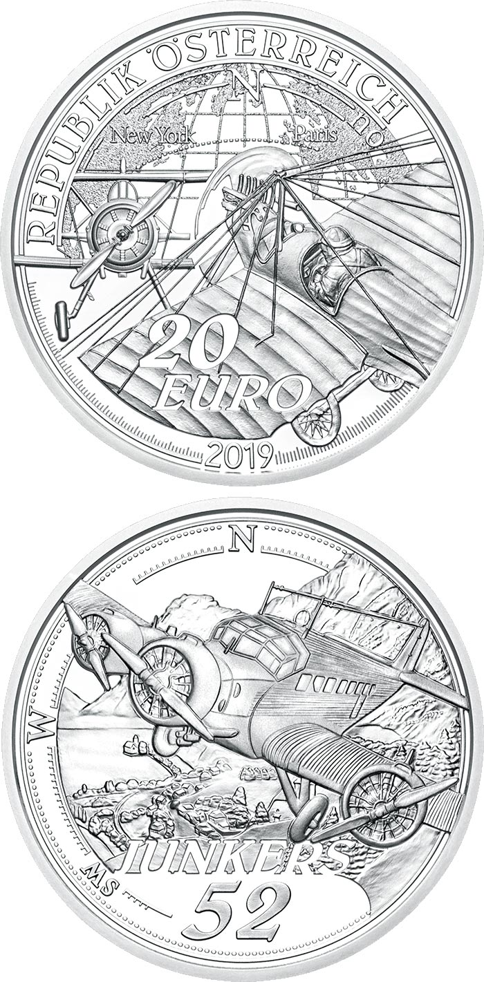 Image of 20 euro coin - The Advent of Powered Flight | Austria 2019.  The Silver coin is of Proof quality.