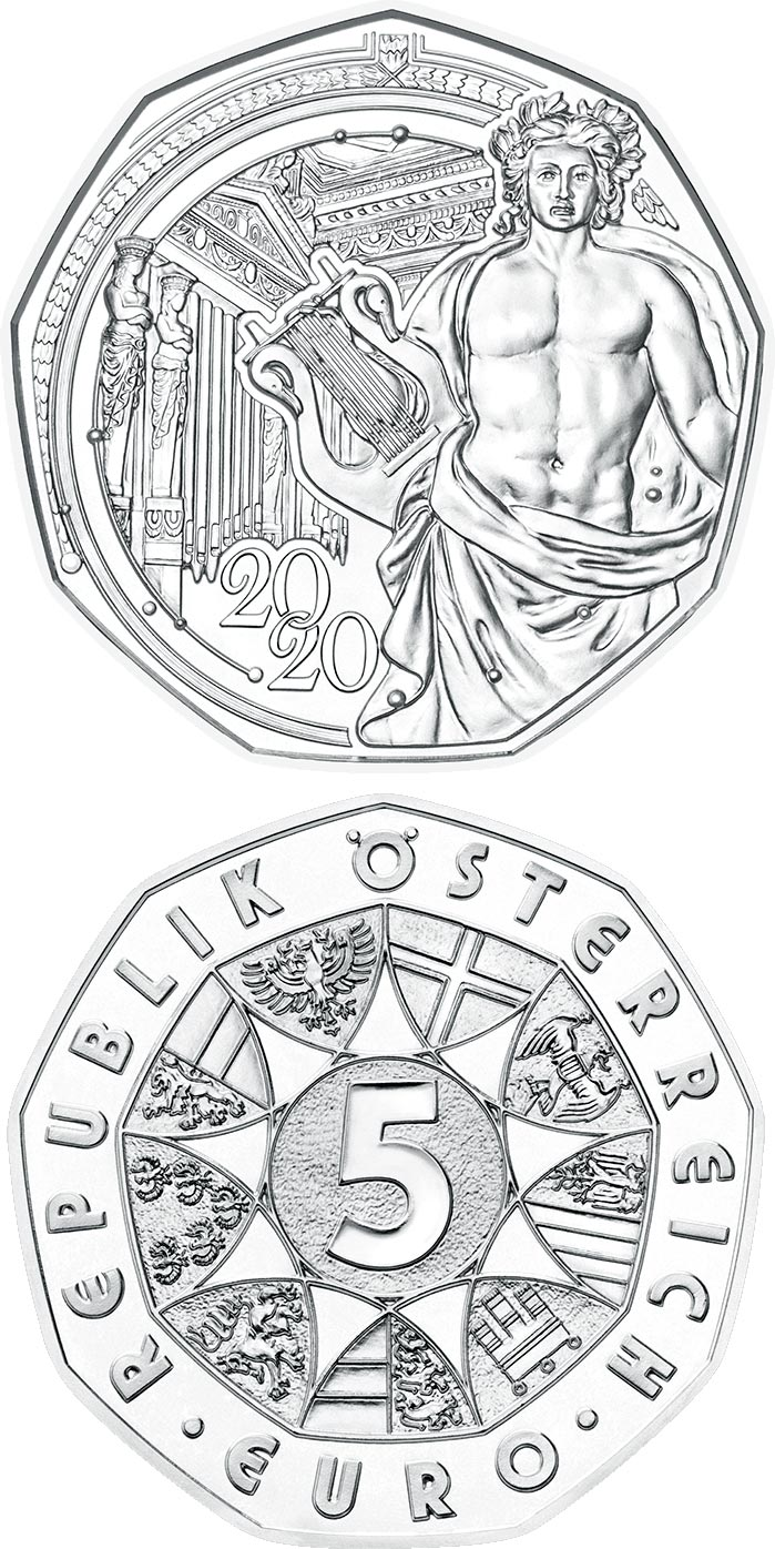 Image of 5 euro coin - New Year Coin 2020 | Austria 2019.  The Silver coin is of BU, UNC quality.
