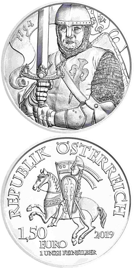 Image of 1.5 euro coin – Leopold V. - 825th Anniversary of the Austrian Mint | Austria 2019.  The Silver coin is of BU quality.