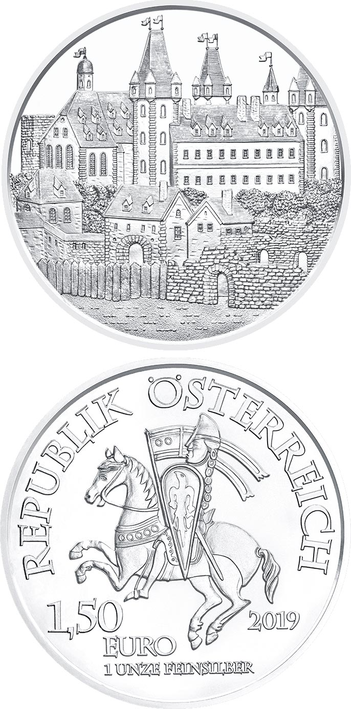 Image of 1.5 euro coin - Wiener Neustadt - 825th Anniversary of the Austrian Mint | Austria 2019.  The Silver coin is of BU quality.