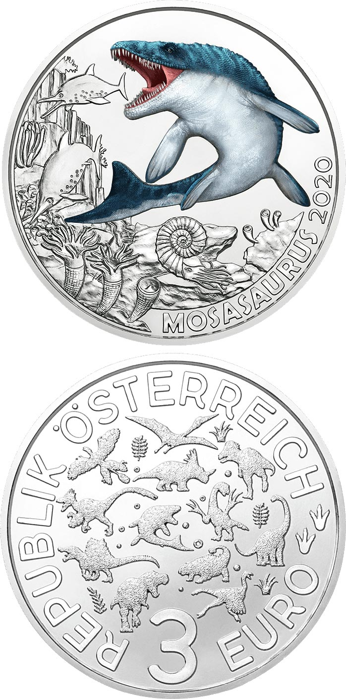Image of 3 euro coin - Mosasaurus – the Largest