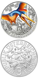 3 euro coin Arambourgiania  - the Largest Flying Dinosaur | Austria 2020