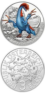 3 euro coin Therizinosaurus cheloniformis – the longest claws | Austria 2021