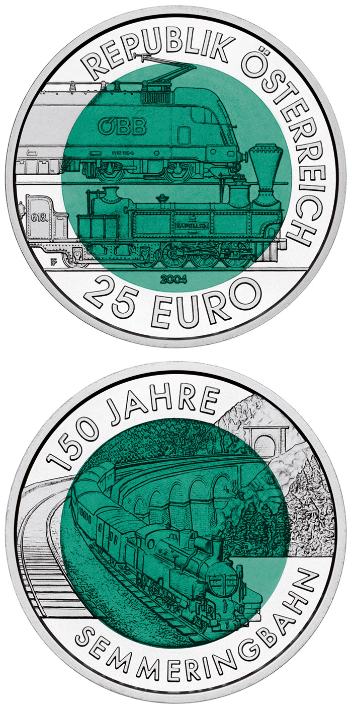 Image of 25 euro coin – 150 Years Semmering Alpine Railway | Austria 2004.  The Bimetal: silver, niobium coin is of BU quality.