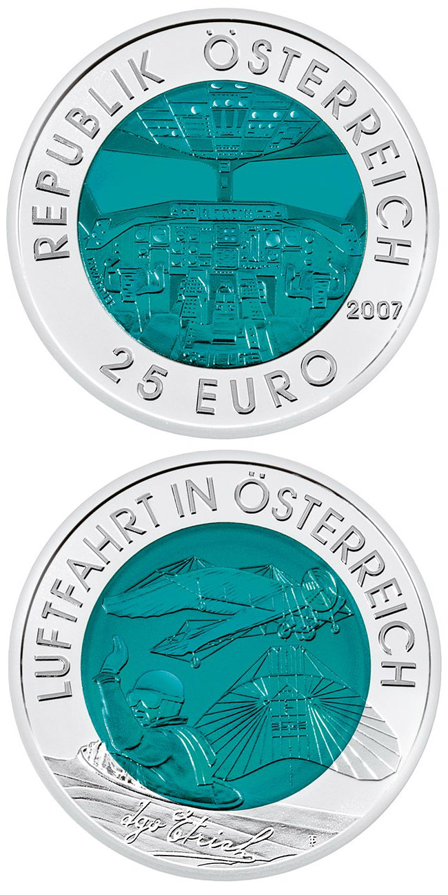 Image of a coin 25 euro | Austria | Austrian Aviation | 2007