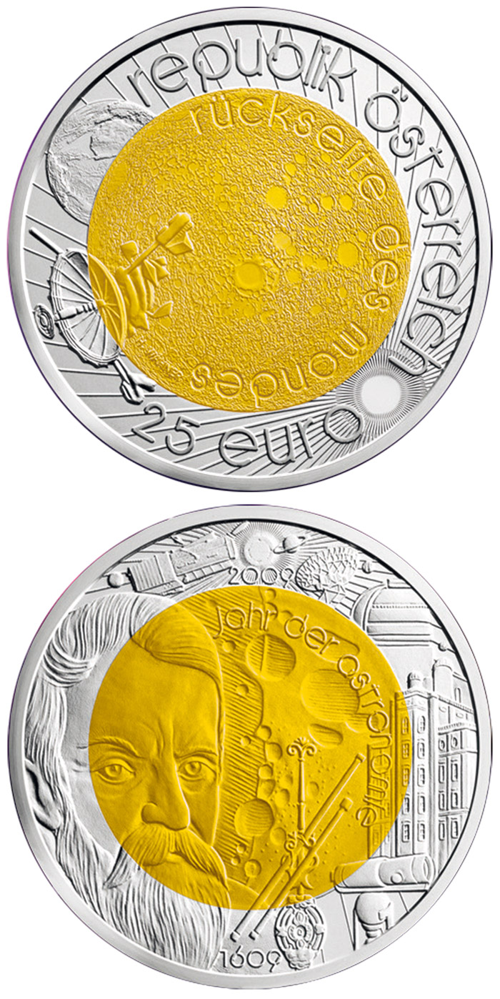 Image of 25 euro coin - Year of Astronomy | Austria 2009.  The Bimetal: silver, niobium coin is of BU quality.