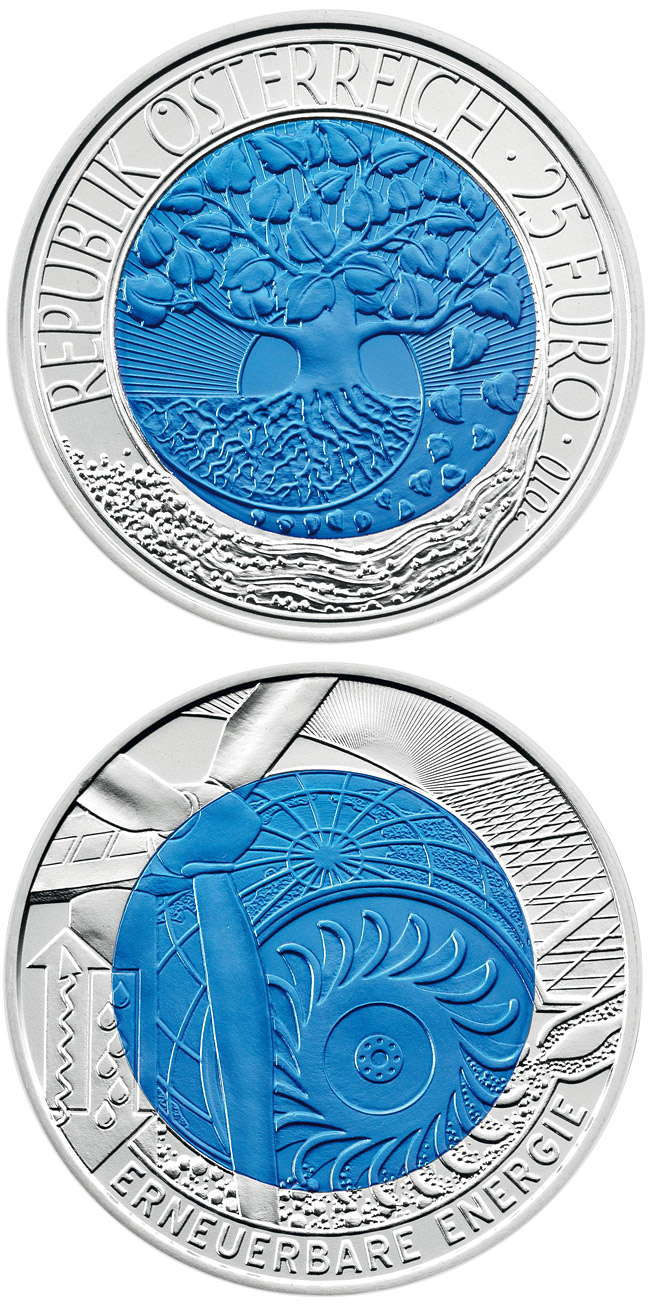 Image of a coin 25 euro | Austria | Renewable Energy | 2010